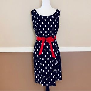 Connected Apparel Black Red White Dress Size 12